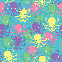 Funny colorful octopus. Children's pattern. Seamless pattern background for textile or book covers, construction, wallpaper, print, gift wrapping and scrapbooking.
