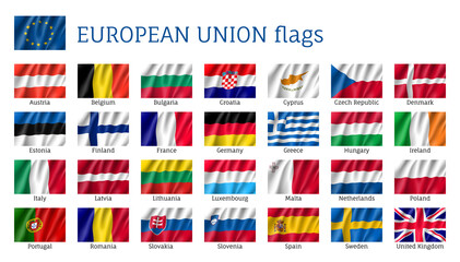 European Union flags. Set of waving flags: Austria, Finland, France and Germany, Estonia, Greece and Hungary, Norway. 25 ensigns of EU states. Vector isolated icons on white background