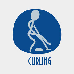Concept winter sports stick figure styled icon: curling.