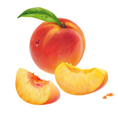 Peach and peach slices. Vector.