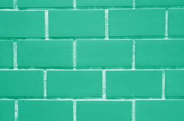 Bricks Wall in Beautiful Mint Green Color, Closed up for Background, Texture, Pattern
