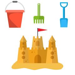 Beach toys and sand castle