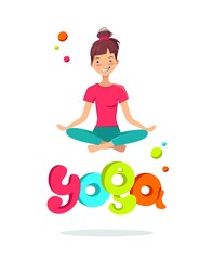 Time to yoga poster. Pretty young girl doing yoga exercise in the class. Vector illustration