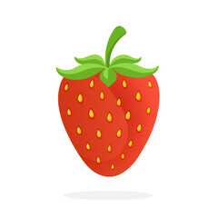 Vector illustration in flat style. Sweet strawberry with a stem. Healthy vegetarian food. Decoration for greeting cards, prints for clothes, posters, menus