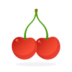 Vector illustration in flat style. Two red sweet cherry berries connected by a stem. Healthy vegetarian food. Decoration for greeting cards, prints for clothes, posters, menus