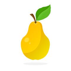 Vector illustration in flat style. Yellow pear with stem and leaf. Healthy vegetarian food. Decoration for greeting cards, prints for clothes, posters, menus