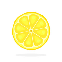 Vector illustration in flat style. Slice of lemon. Healthy vegetarian food. Citrus fruits. Decoration for greeting cards, prints for clothes, posters, menus