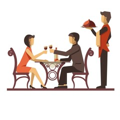 Young couple dating in restaurant and waiter near