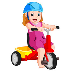 Illustration very cute girl on tricycle