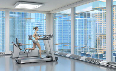 Girl on a treadmill in a sports hall with large windows. 3d image.
