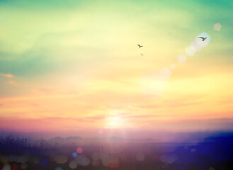 World environment day concept: Colorful blurred mountain and sky sunset background