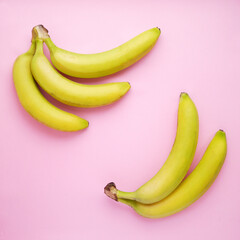 Fototapete - Bananas on a pink background. Food background.Top view.