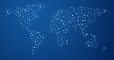 Blue global communications world map.