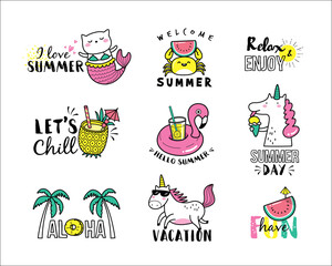 Set of summer icons and design elements