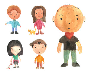 Set Of Cute Isolated Watercolor People Illustration, Suitable For Books Graphic, Shirt, Name Card, Avatar, Logo, Web, Birthday, Print Graphic and Other Children Related Occasion