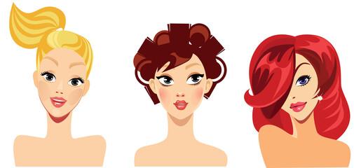 vector portraits of face girls for avatar, blonde, red, brunette hair, beauty face