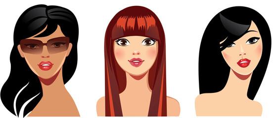 vector portraits of face girls for avatar, red, brunette hair, beauty face