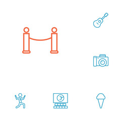 Set Of 6 Amusement Outline Icons Set.Collection Of Barrier Rope, Photo Camera, Dancing Man And Other Elements.