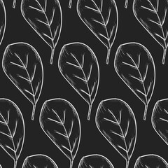Seamless Pattern Of  Obovate Leaves Hand Drawn Sketch Black Outline