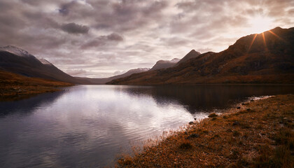 Loch Na Sealga near the summit of An Teallach in the Scottish Highlands, Scotland, UK.