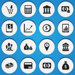 Set Of 16 Editable Finance Icons. Includes Symbols Such As Currency, Bank Location, Shopping Pushcart And More. Can Be Used For Web, Mobile, UI And Infographic Design.