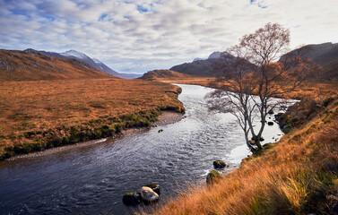 Printed kitchen splashbacks River River Gruinard near the summit of An Teallach in the Scottish Highlands, Scotland, UK.