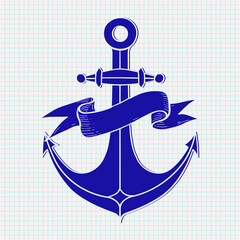 Anchor sign. Blue icon on notebook sheet background