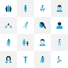 Human Colorful Icons Set. Collection Of Business, Walking, Group And Other Elements. Also Includes Symbols Such As Freedom, Worker, Climbing.