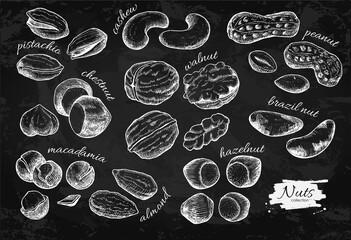 Nuts vector vintage illustration set. Hand drawn engraved objects on chalkboard background.