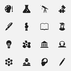 Set Of 16 Editable University Icons. Includes Symbols Such As Binoculars, Pencil, Graduated Female And More. Can Be Used For Web, Mobile, UI And Infographic Design.