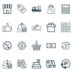 Ecommerce Icons Set. Collection Of Telephone, Shop, Recommended And Other Elements. Also Includes Symbols Such As Information, Sale, Button.
