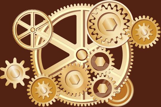 Metallic gear wheels for Industrial concept