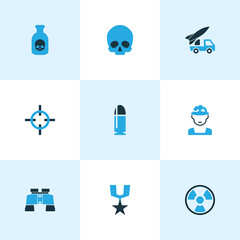 Combat Colorful Icons Set. Collection Of Skull, Medal, Soldier And Other Elements. Also Includes Symbols Such As Soldier, Skull, Zoom.