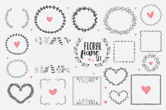 Set of Hand Drawn Herbal Round Frames. Hand Drawn Floral Round Frames and Hearts.