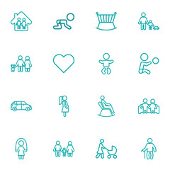Set Of 16 Relatives Outline Icons Set.Collection Of Grandfather, Car, Baby Elements.