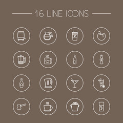 Set Of 16 Drinks Outline Icons Set.Collection Of Bottle, Hotdrink, Ice Bucket And Other Elements.