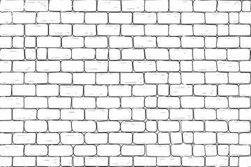 White bricks wall. Seamless pattern background Wall mural