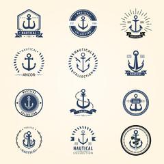 Vintage retro anchor badge vector sign sea ocean graphic element nautical naval symbol illustration