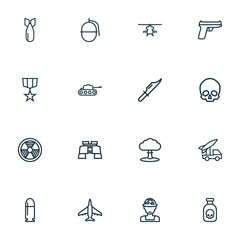 Combat Outline Icons Set. Collection Of Dynamite, Cutter, Officer And Other Elements. Also Includes Symbols Such As Cooper, Toxic, Rocket.