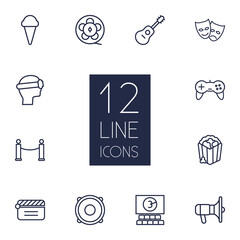 Set Of 12 Amusement Outline Icons Set.Collection Of Game Controller, Masks, Cinema And Other Elements.
