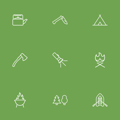 Set Of 9 Outdoor Outline Icons Set.Collection Of Pocket Torch, Rubber Boat, Penknife And Other Elements.