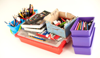 School stationery supplies on the table. Children workplace accessories