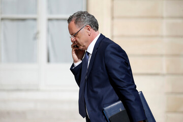 French Territorial Cohesion Minister Richard Ferrand arrives at the Elysee Palace before a weekly cabinet meeting in Paris