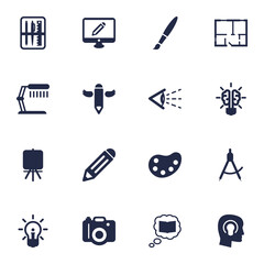 Set Of 16 Creative Icons Set.Collection Of Case, Science, Bulb And Other Elements.