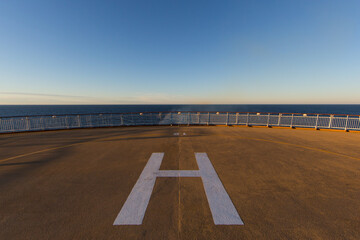 helicopter landing place on a ship deck on sea