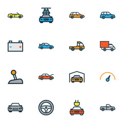 Auto Colorful Outline Icons Set. Collection Of Speed, Van, Sport And Other Elements. Also Includes Symbols Such As Drive, Shed, Van.