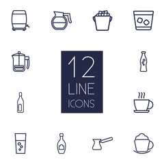 Set Of 12 Beverages Outline Icons Set.Collection Of Coffee, Hot Drink, Wine Cask And Other Elements.