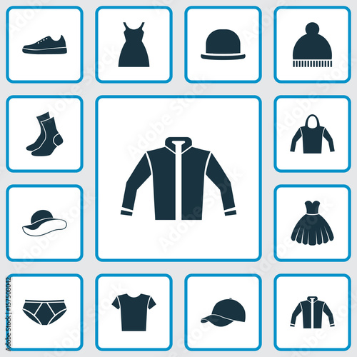 cd13a9a3 Garment Icons Set. Collection Of Sneakers, Trilby, Casual And Other  Elements. Also Includes Symbols Such As Cap, Fedora, Pants.