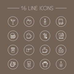 Set Of 16 Drinks Outline Icons Set.Collection Of Hot Drink, Ice Bucket, Lime And Other Elements.