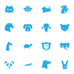 Set Of 16 Animal Icons Set.Collection Of Bear, Hound, Bunny And Other Elements.